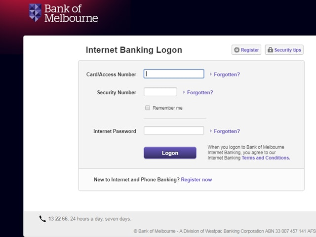 Bank of Melbourne internet Banking