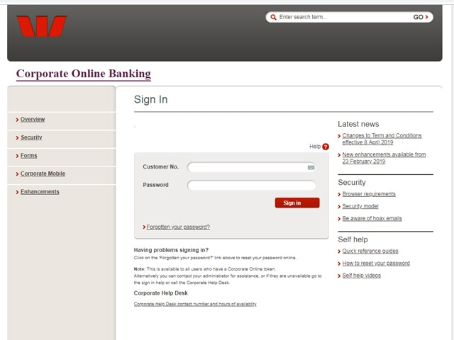 Westpac Internet banking