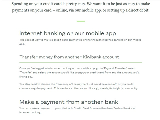 Pay Kiwibank Credit Card Bill Online