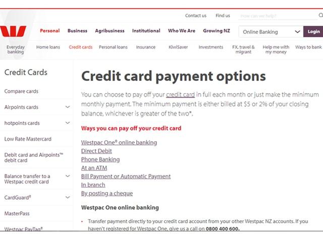 Pay Westpac Credit Card Bill Online