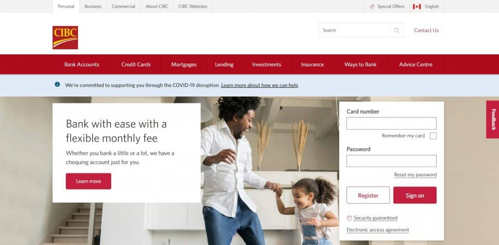 CIBC credit card login