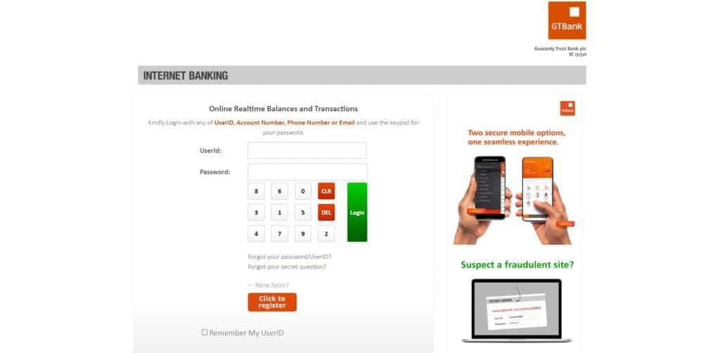 GTbank credit card payment