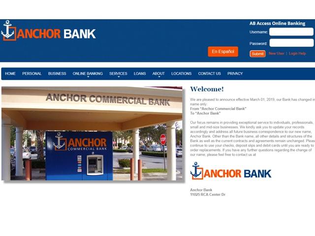 Anchor Bank login