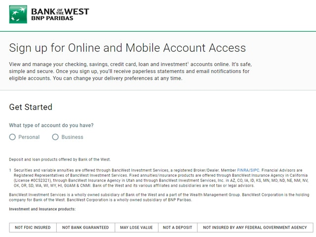 bank of the west online login