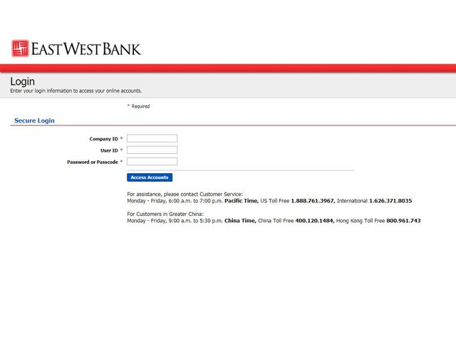 EastWest Bank Online Banking