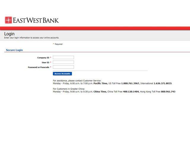 EastWest Bank Online Banking