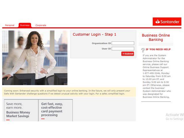 santander online business banking