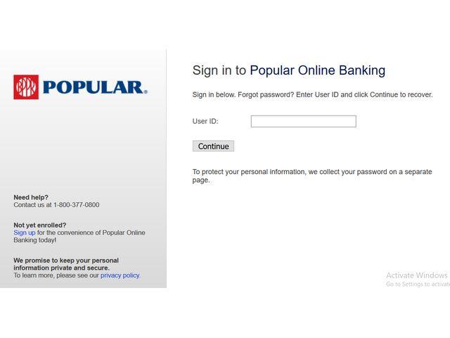 Popular Bank Login