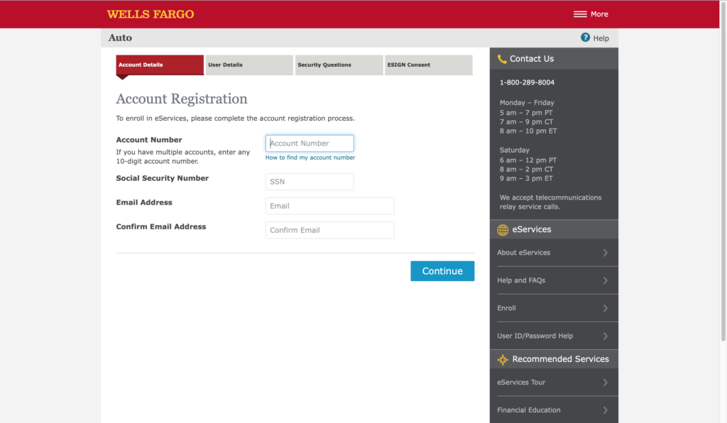 Wells Fargo Auto Loan Enrolment
