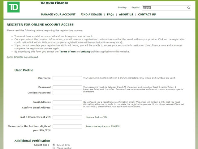 TD Bank Auto Finance login