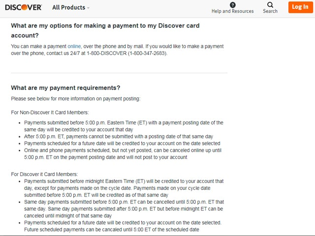 Discover Credit Card Payment